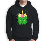 Unicorn St Patrick's Day Gift For Girls Kids Funny Shamrock Sweatshirt & Hoodie