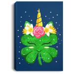 Unicorn St Patrick's Day Gift For Girls Kids Funny Shamrock Portrait Canvas