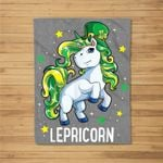 Unicorn St Patricks Day Girls Kids Leprechaun Lepricorn Gift Fleece Blanket