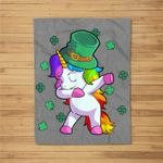 Unicorn St Patricks Day Toddler Girl Kids Shamrock Fleece Blanket