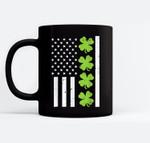 US America Flag Shamrock Clover St Patricks Day Patriot Gift Black Mugs