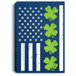 US America Flag Shamrock Clover St Patricks Day Patriot Gift Portrait Canvas