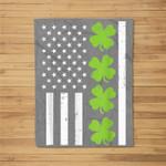 US America Flag Shamrock Clover St Patricks Day Patriot Gift Fleece Blanket