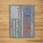 US FLAG CHAINSAW Lumberjack Logger Lumber Gift Fleece Blanket