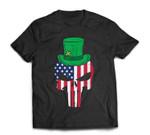 US Flag Skull Irish Leprechaun Hat St Patricks Day Patriotic T-Shirt