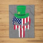 US Flag Skull Irish Leprechaun Hat St Patricks Day Patriotic Fleece Blanket