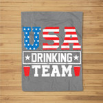 USA Drinking Team Funny Drinking Beer Lover Gift Fleece Blanket