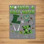 Vaccinated Masked St Patricks Day Nurse Life Healthcare Gift Fleece Blanket