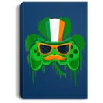 Video Game Leprechaun Controller Boys Gamer St Patricks Day Portrait Canvas