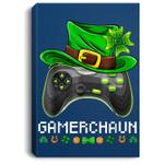 Video Game Leprechaun St Patricks Day Gamer Kids Boys Gaming Portrait Canvas