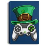 Video Gamer Controller Leprechaun Hat St. Patricks Day Boys Portrait Canvas