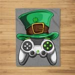 Video Gamer Controller Leprechaun Hat St. Patricks Day Boys Fleece Blanket