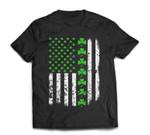 Vintage America-n US-A Flag, Shamrock Green-Clover Boy Girl T-Shirt