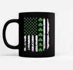 Vintage America-n US-A Flag, Shamrock Green-Clover Boy Girl Black Mugs
