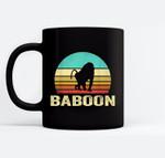 Vintage Baboon Sunset Black Mugs