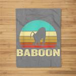Vintage Baboon Sunset Fleece Blanket
