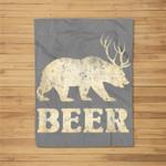 Vintage Bear Deer Funny Beer Fleece Blanket