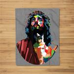 Vintage Got King Jesus Christ Sweet Face Image Fleece Blanket
