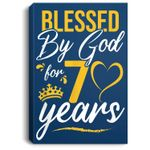 Vintage Happy 70 years Blessed by God for 70th birthday gift Portrait Canvas