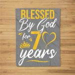Vintage Happy 70 years Blessed by God for 70th birthday gift Fleece Blanket