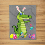Alligator And Bunny Rabbit Hat Easter Eggs Happy Day Fleece Blanket