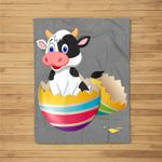 Baby Cow Hatching From Easter Egg Easter Day Fleece Blanket