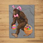 Bigfoot Carring Eggs Easter Bigfoot Easter Costume Fleece Blanket