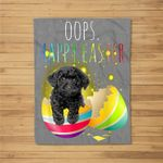 Black Toy Poodle Oops Happy Easter Black Toy Poodle Eggs Fleece Blanket