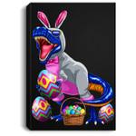 Easter T Rex Dinosaur Kids Boys Bunny Basket Eggs Portrait Canvas