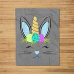 Easter Unicorn Bunny Boys Girls Sunday Egg Hunt Gift Fleece Blanket