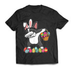 Boston Terrier Dabbing Easter Bunny Egg Basket Hunting T-Shirt