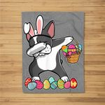 Boston Terrier Dabbing Easter Bunny Egg Basket Hunting Fleece Blanket