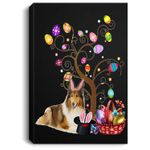 Bunny Rough Collie Easter Day Hunting Egg Dad Mom Gift Portrait Canvas