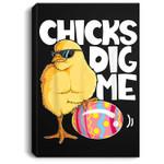 Chicks Dig Me Boys Kids Easter Bunny Ears Egg Men Portrait Canvas