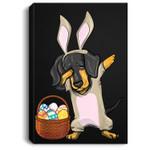 Dabbing Easter Bunny Dachshund Doxie Girls & Design Portrait Canvas