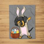 Dabbing Easter Bunny Dachshund Doxie Girls & Design Fleece Blanket