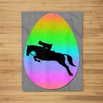 dressage equestrian bunny easter eggs rainbow Fleece Blanket
