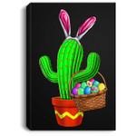Easter Basket Bunny Eggs Cactus Men Women Kids Gift Portrait Canvas