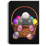 Easter Bunny Basket Eggs Women Men Kids Gift Portrait Canvas