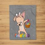 Happy Chihuahua Bunny Dabbing Dab Easter Eggs Fleece Blanket