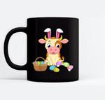 Happy Cow Easter Bunny Egg Gift for Kids Black Mugs