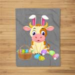Happy Cow Easter Bunny Egg Gift for Kids Fleece Blanket