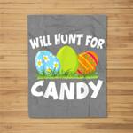 Happy Easter - Kids Funny Egg Hunt For Candy Fleece Blanket