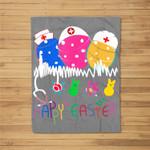Happy Easter Bunny Egg Nurse Fleece Blanket