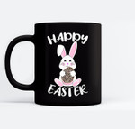 Happy Easter Bunny Leopard print Easter egg Bunny kids adult Black Mugs