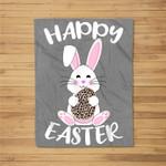 Happy Easter Bunny Leopard print Easter egg Bunny kids adult Fleece Blanket