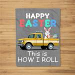 Happy Easter Bunny With Monster Truck Kids Boy Fleece Blanket