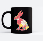 Retro Easter Bunny - Vintage Floral Pink Black Mugs