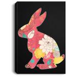 Retro Easter Bunny - Vintage Floral Pink Portrait Canvas