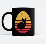 Retro Easter Bunny Rabbit Egg Birthday Vintage Gift Black Mugs
